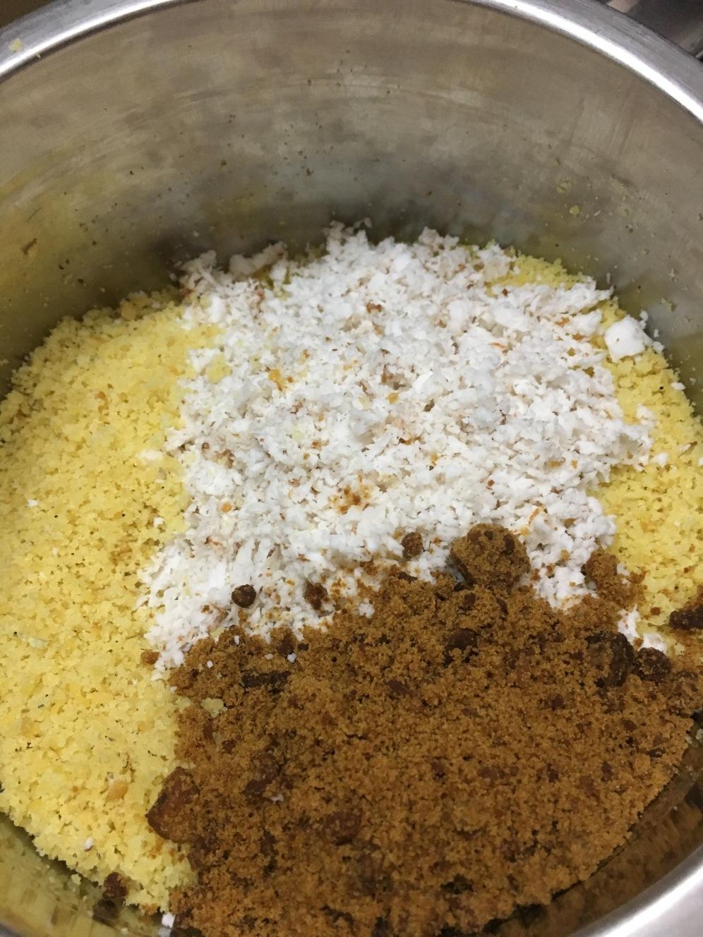 Add jaggery, coconut & cardamom powder